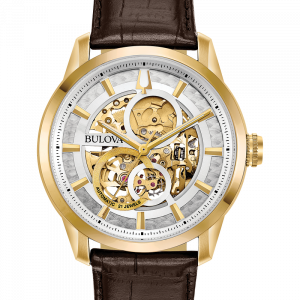 Bulova Sutton 97A138 Skeleton Gold Tone 43mm Steel Leather Automatic Mens Watch 133533140825