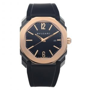 Bvlgari Octo LOriginale BGO P 41 SG 18k Rose Gold Black Steel Rubber Mens Watch 114619471815