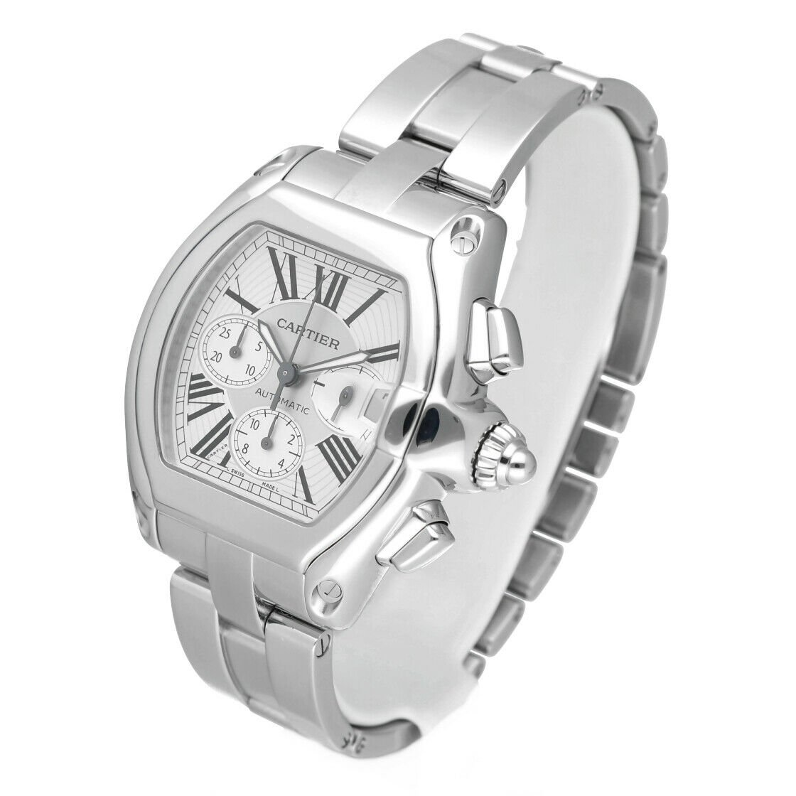 Cartier Roadster 2618 Chronograph XL Silver Dial Stainless Steel Mens Watch 114339442665 2