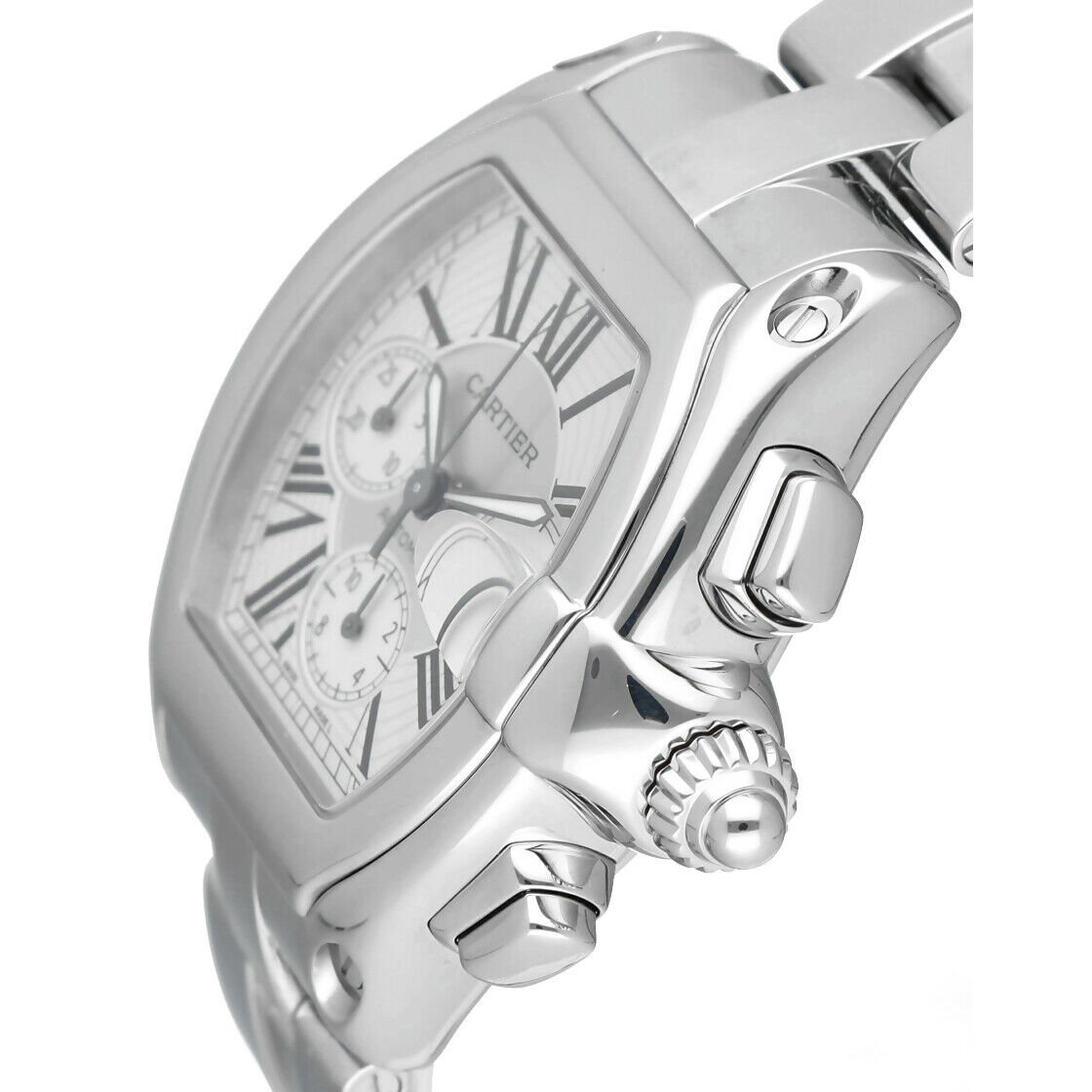 Cartier Roadster 2618 Chronograph XL Silver Dial Stainless Steel Mens Watch 114339442665 3