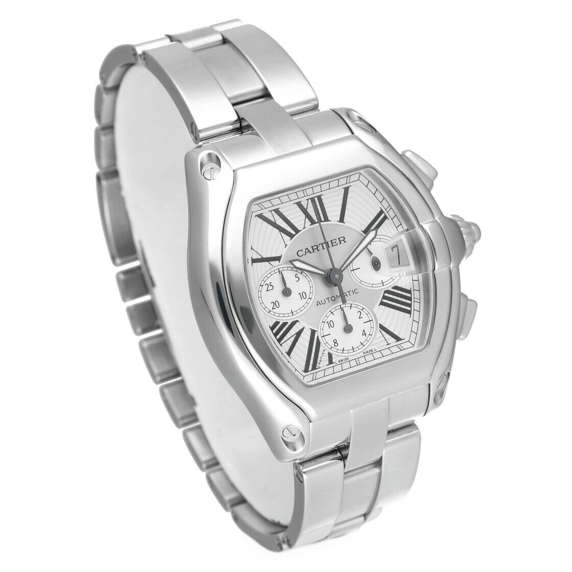Cartier Roadster 2618 Chronograph XL Silver Dial Stainless Steel Mens Watch 114339442665 4
