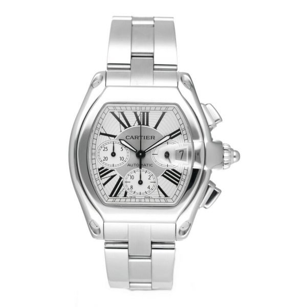 Cartier Roadster 2618 Chronograph XL Silver Dial Stainless Steel Mens Watch 114339442665