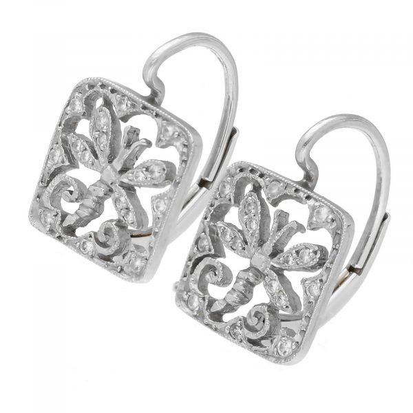 Cathy Waterman Platinum Square Shape Dragonfly Pave Diamond Lever Back Earrings 114549056775 2