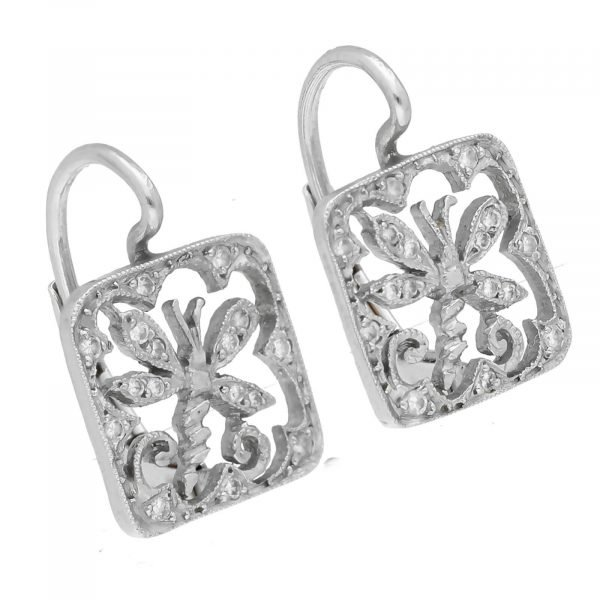 Cathy Waterman Platinum Square Shape Dragonfly Pave Diamond Lever Back Earrings 114549056775 3