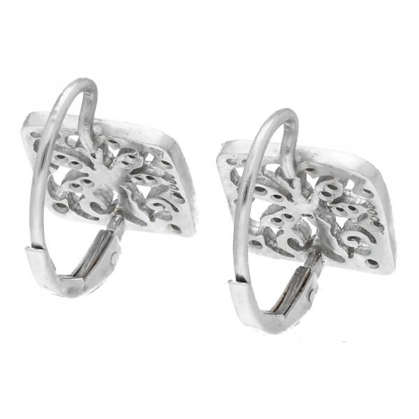 Cathy Waterman Platinum Square Shape Dragonfly Pave Diamond Lever Back Earrings 114549056775 4