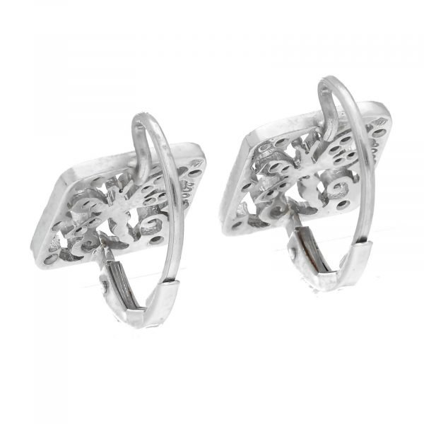 Cathy Waterman Platinum Square Shape Dragonfly Pave Diamond Lever Back Earrings 114549056775 5