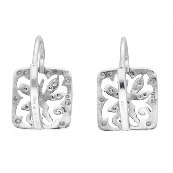 Cathy Waterman Platinum Square Shape Dragonfly Pave Diamond Lever Back Earrings 114549056775 6