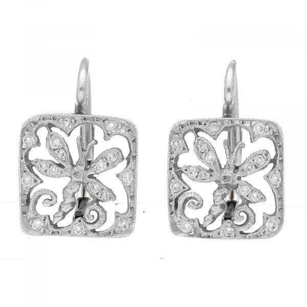 Cathy Waterman Platinum Square Shape Dragonfly Pave Diamond Lever Back Earrings 114549056775