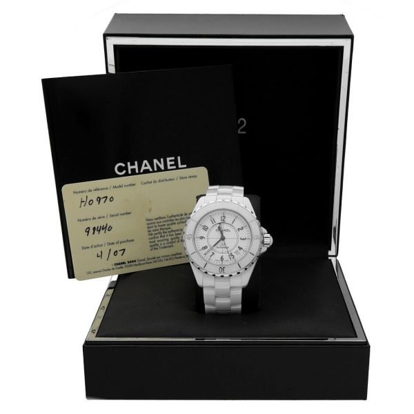 Chanel J12 H0970 LD 98440 White Ceramic Arabic Dial 39mm Automatic Womens Watch 114476497925 8