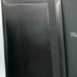 Chopard 95 7041 Black Leather Rubber Accent Folder A4 Planner Pad 113962965705