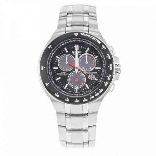 Citizen Eco Drive BL5334 55E Chronograph Black Dial Stainless Steel Mens Watch 122068357865
