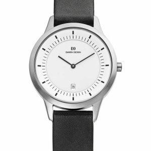 Danish Design IQ12Q984 White Dial Stainless Steel Black Leather Mens Watch 113161504655