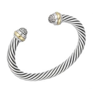 David Yurman 750 925 Silver Diamonds 7mm Classic Cuff Cable Bracelet 65 M Size 133492246615