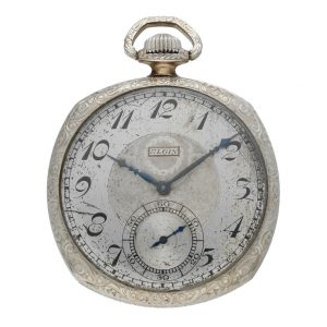 Elgin-12-Size-Open-Face-Pocket-Watch-Pendant-Set-14k-WGF-NOT-Working-Parts-ONLY-133710834755