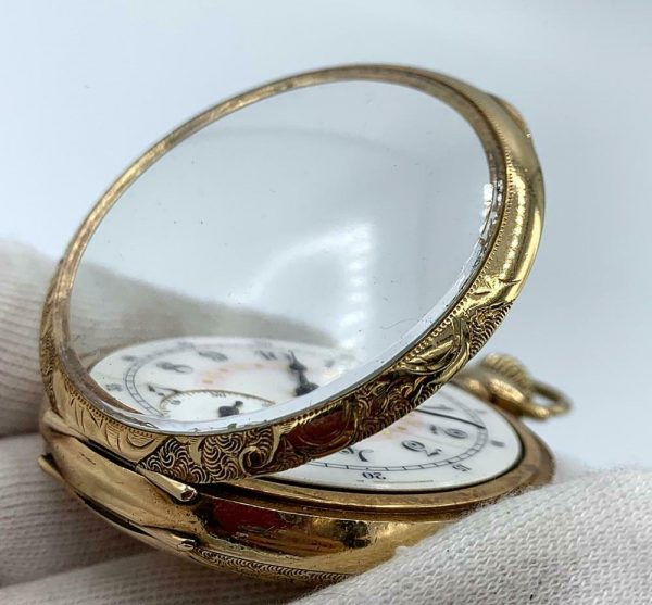 Elgin 16 Size 15 Jewels Gold Plated Open Face Gold Inlay Dial Pocket Watch 123908516785 10