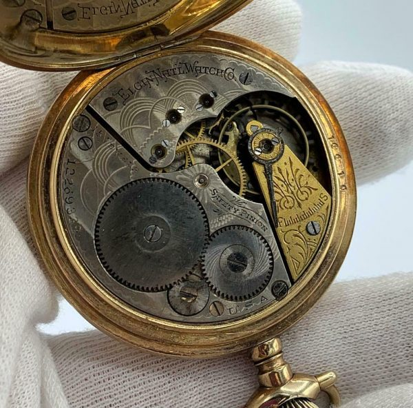 Elgin 16 Size 15 Jewels Gold Plated Open Face Gold Inlay Dial Pocket Watch 123908516785 12