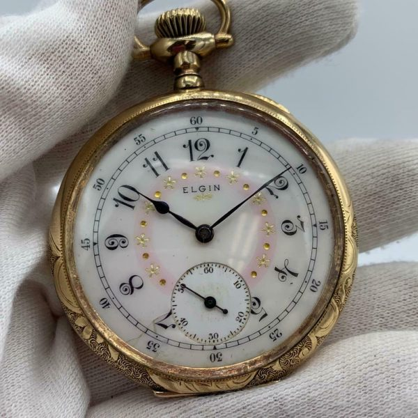 Elgin 16 Size 15 Jewels Gold Plated Open Face Gold Inlay Dial Pocket Watch 123908516785 2