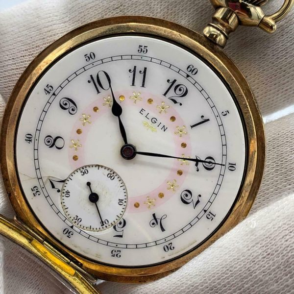 Elgin 16 Size 15 Jewels Gold Plated Open Face Gold Inlay Dial Pocket Watch 123908516785 4