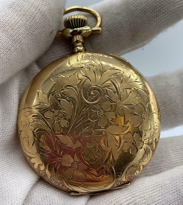 Elgin 16 Size 15 Jewels Gold Plated Open Face Gold Inlay Dial Pocket Watch 123908516785 5