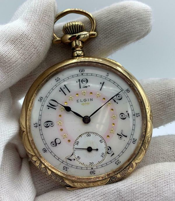 Elgin 16 Size 15 Jewels Gold Plated Open Face Gold Inlay Dial Pocket Watch 123908516785