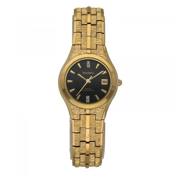 Elgin Gold Plated Stainless Steel Black Dial Round 25mm Quartz Womens Watch 124570613935