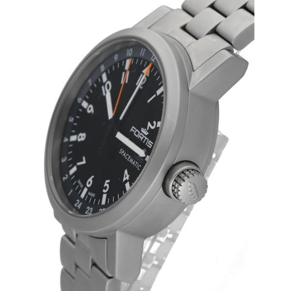 Fortis 62422148 GMT Spacematic Pilots Matte Steel 40mm Automatic Mens Watch 124306304595 4