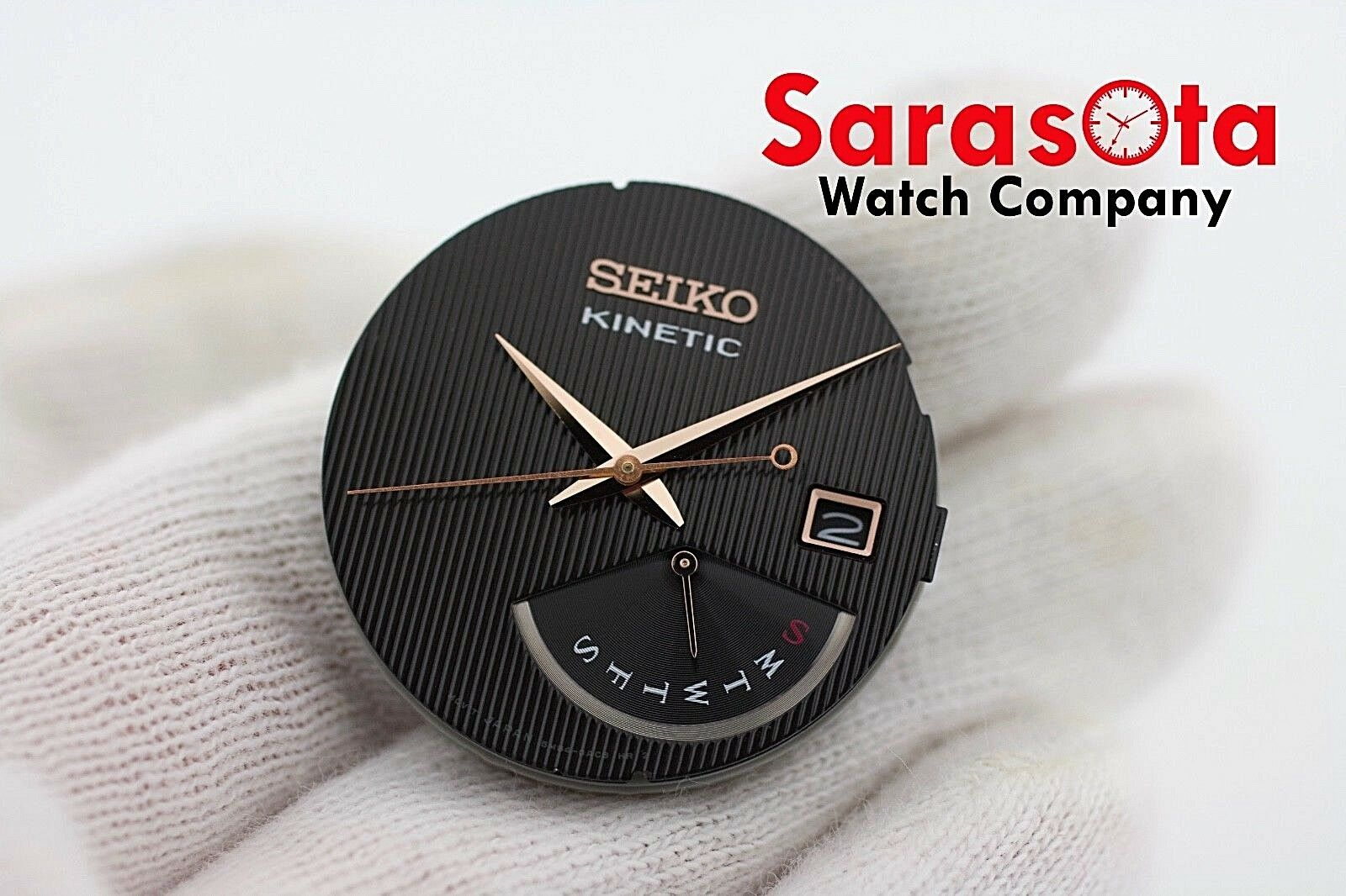 Genuine Seiko Kinetic SRN054 Black Rose Gold Complete Dial with Hands 113347268745 2
