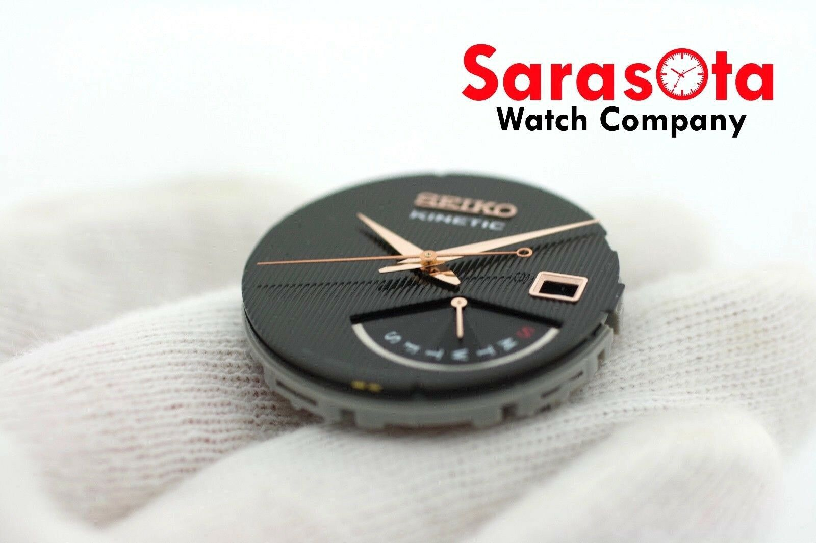 Genuine Seiko Kinetic SRN054 Black Rose Gold Complete Dial with Hands 113347268745 3