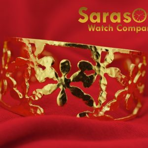 Gold Plated Sterling Silver Flower Design 31mm Width 65 Ladies Cuff Bracelet 131883785975