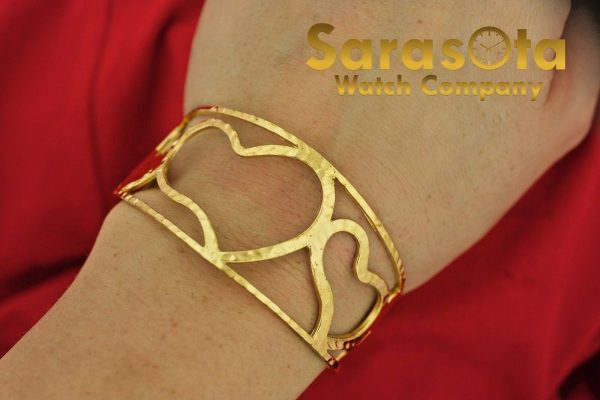 Gold Plated Sterling Silver Heart Shaped Width 32mm Ladies 675 Cuff Bracelet 112063016585 3