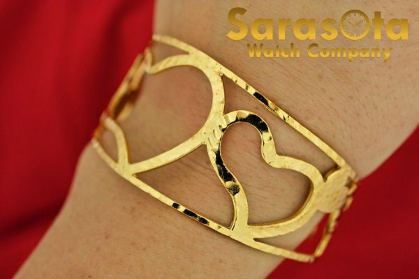 Gold Plated Sterling Silver Heart Shaped Width 32mm Ladies 675 Cuff Bracelet 112063016585 4
