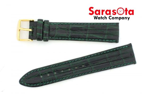 HIRSCH Professional Genuine Leather 1820 mm Long Stitched Green Watch Band 112027759185 3