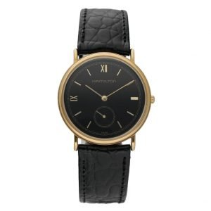 Hamilton Gold Electroplated Round 32mm Black Dial Leather Quartz Wrist Watch 114364468835