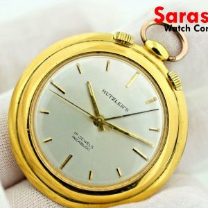 Hutzlers 17 Jewels Gold Plated 42mm Hand Winding Alarm Travel Pocket Watch 113207138105