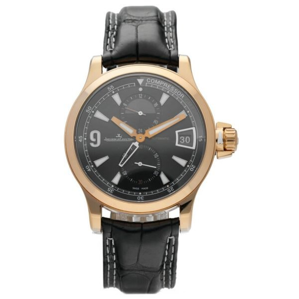 Jaeger LeCoultre 146205 Master Compressor GMT 18k Rose Gold Leather Mens Watch 124443522925