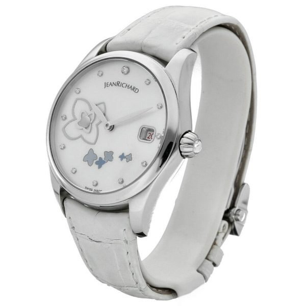 Jean Richard 61143 Bressel Pearl Dial White Leather Automatic Womens Watch 123731047015 2