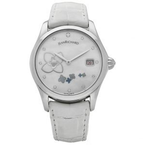 Jean Richard 61143 Bressel Pearl Dial White Leather Automatic Womens Watch 123731047015