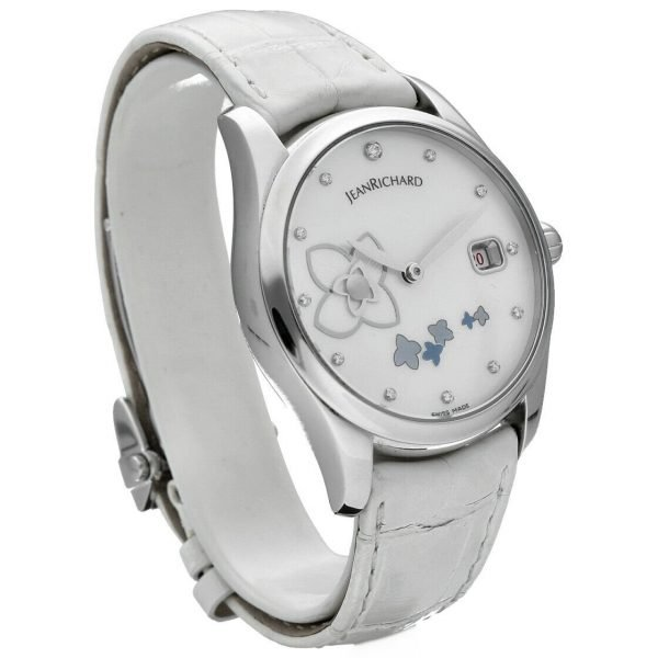 Jean Richard 61143 Bressel Pearl Dial White Leather Automatic Womens Watch 123731047015 4