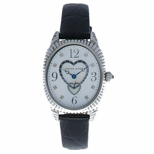 Judith Ripka Sterling Silver Collection Oval Case Heart MOP Dial Womens Watch 114140437595 2