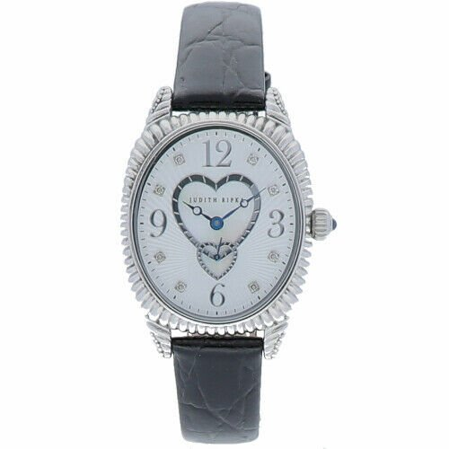 Judith Ripka Sterling Silver Collection Oval Case Heart MOP Dial Womens Watch 114140437595