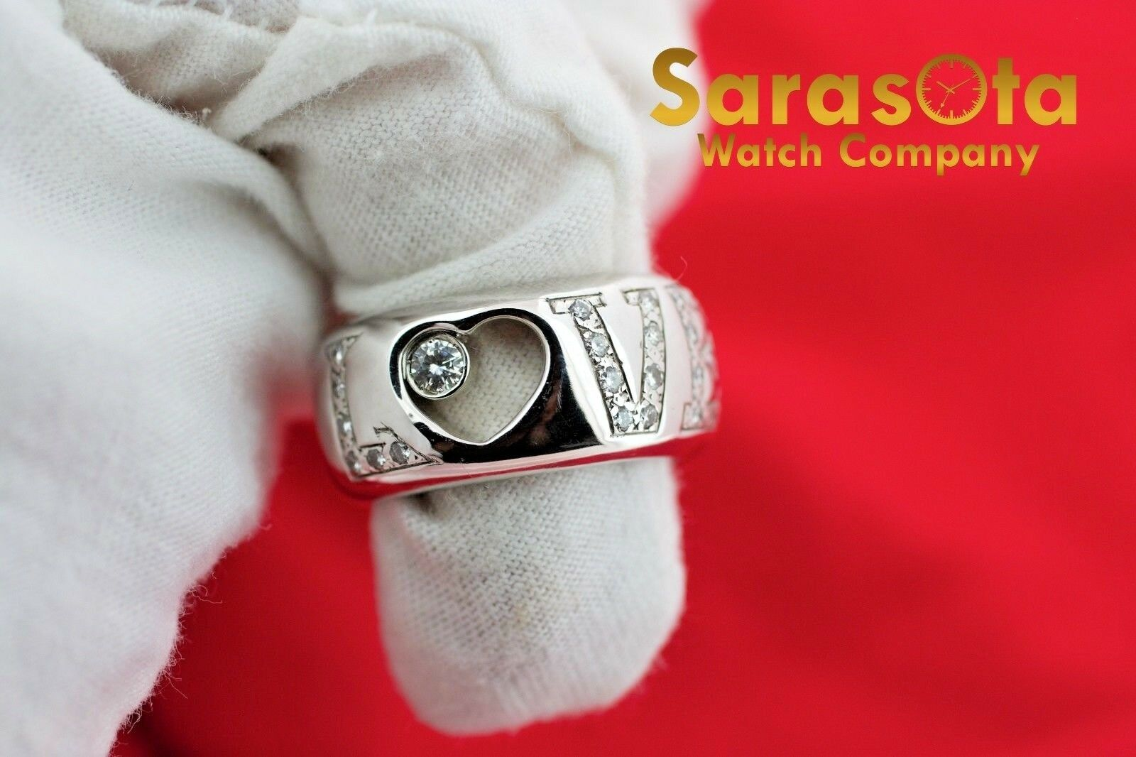 14K White Gold 030Ct HSI1 Diamond LOVE 11mm Wide Band Womens Ring Size 8 122030768416 3