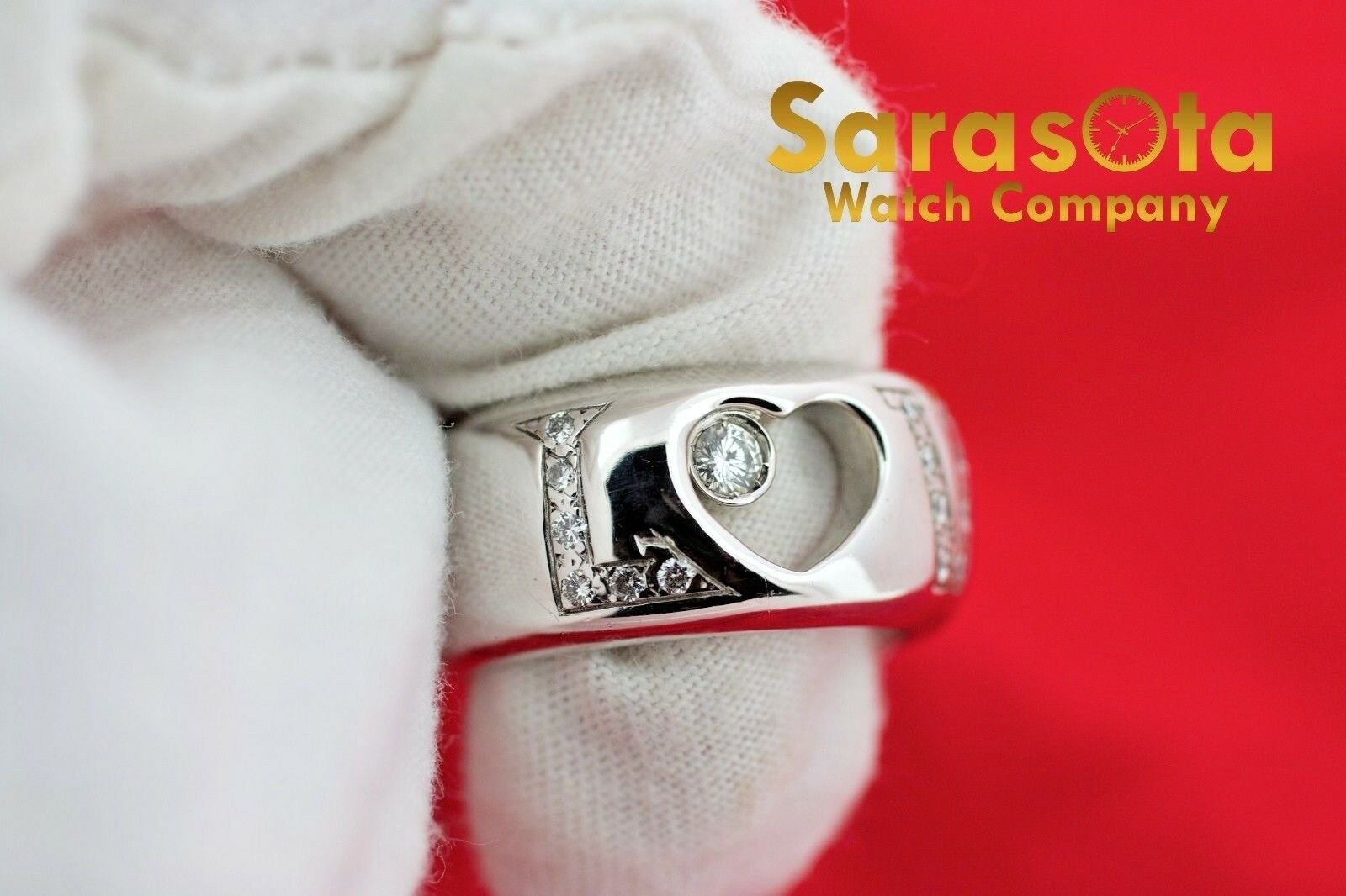 14K White Gold 030Ct HSI1 Diamond LOVE 11mm Wide Band Womens Ring Size 8 122030768416 4