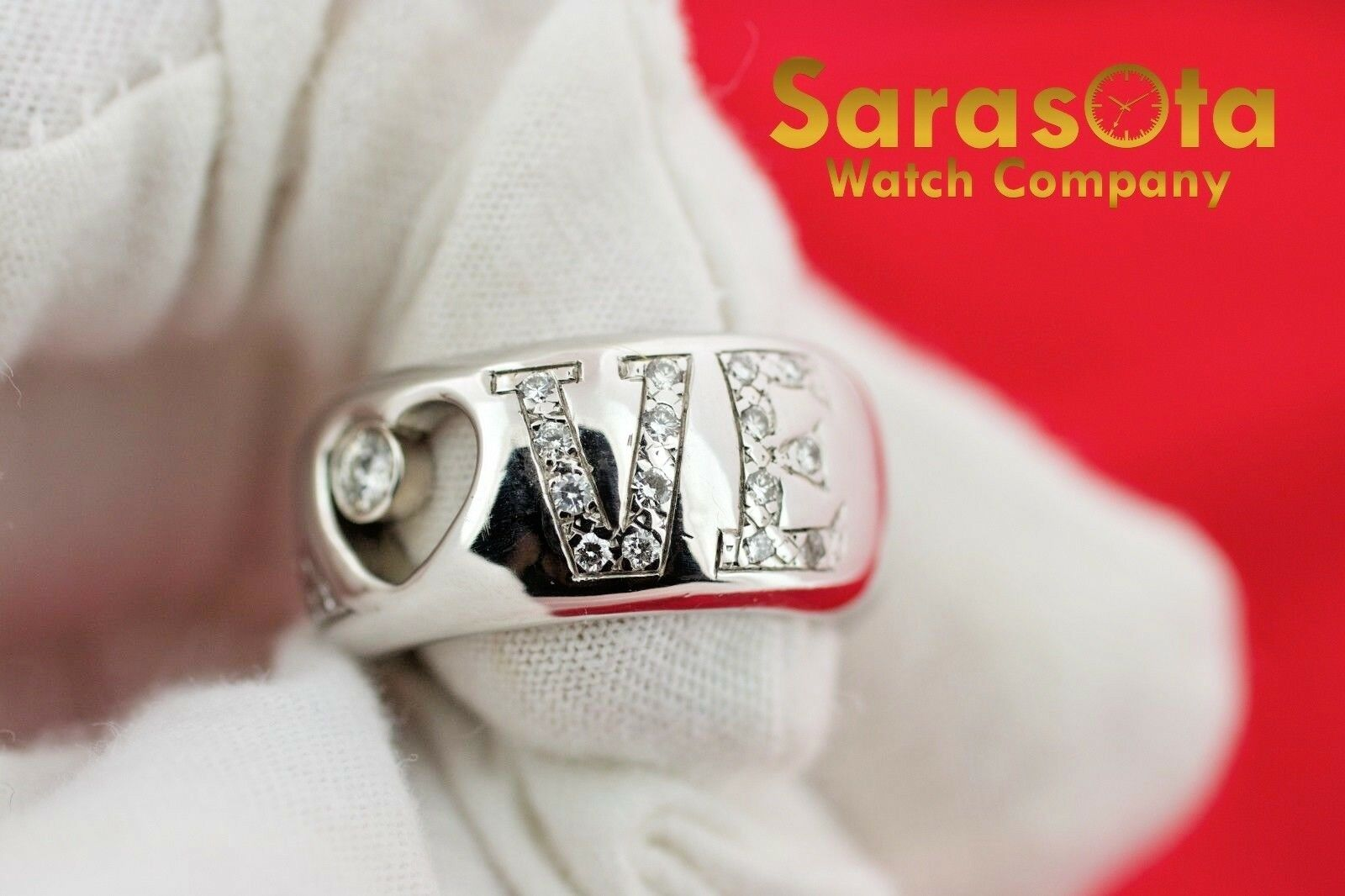 14K White Gold 030Ct HSI1 Diamond LOVE 11mm Wide Band Womens Ring Size 8 122030768416 5