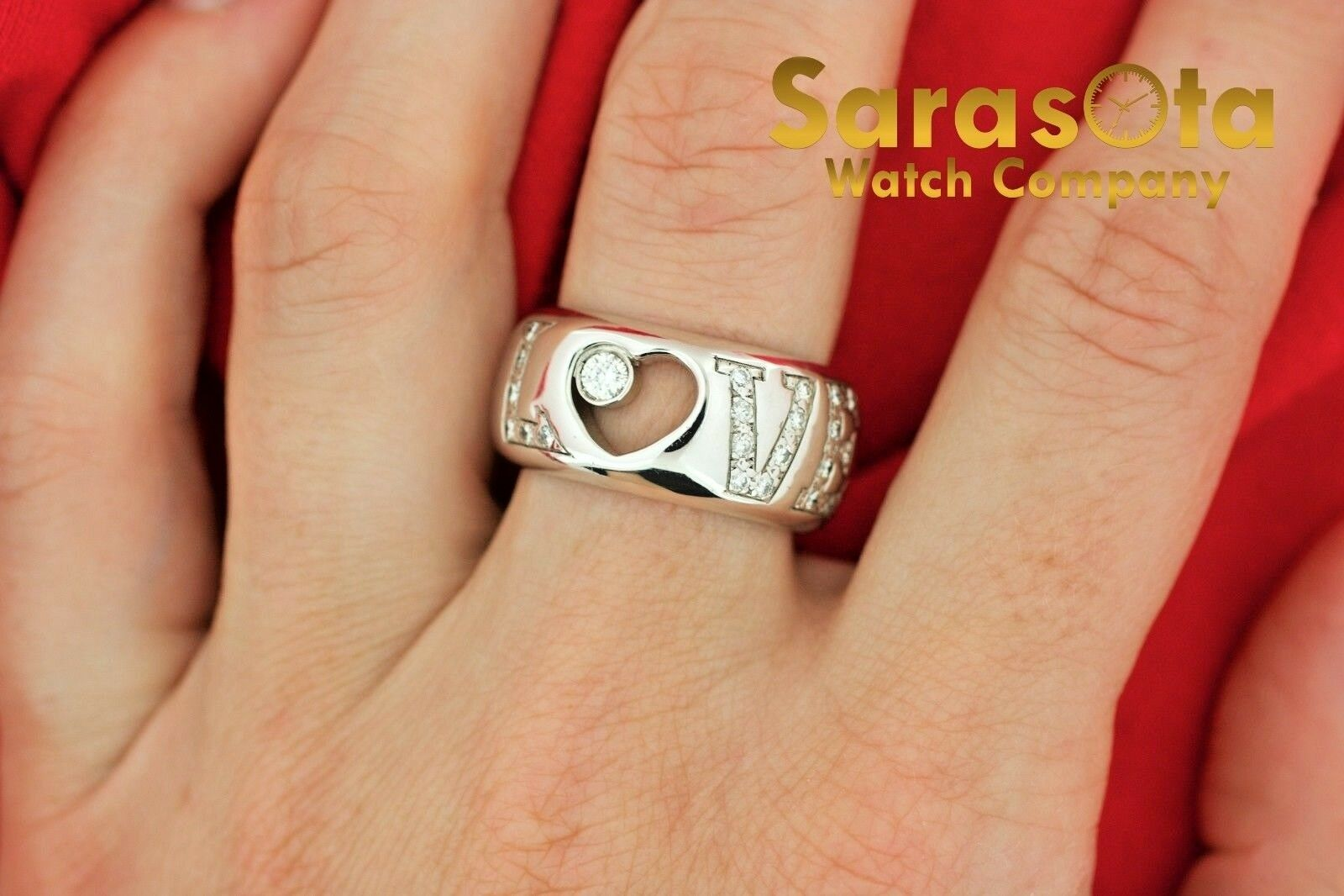 14K White Gold 030Ct HSI1 Diamond LOVE 11mm Wide Band Womens Ring Size 8 122030768416 6