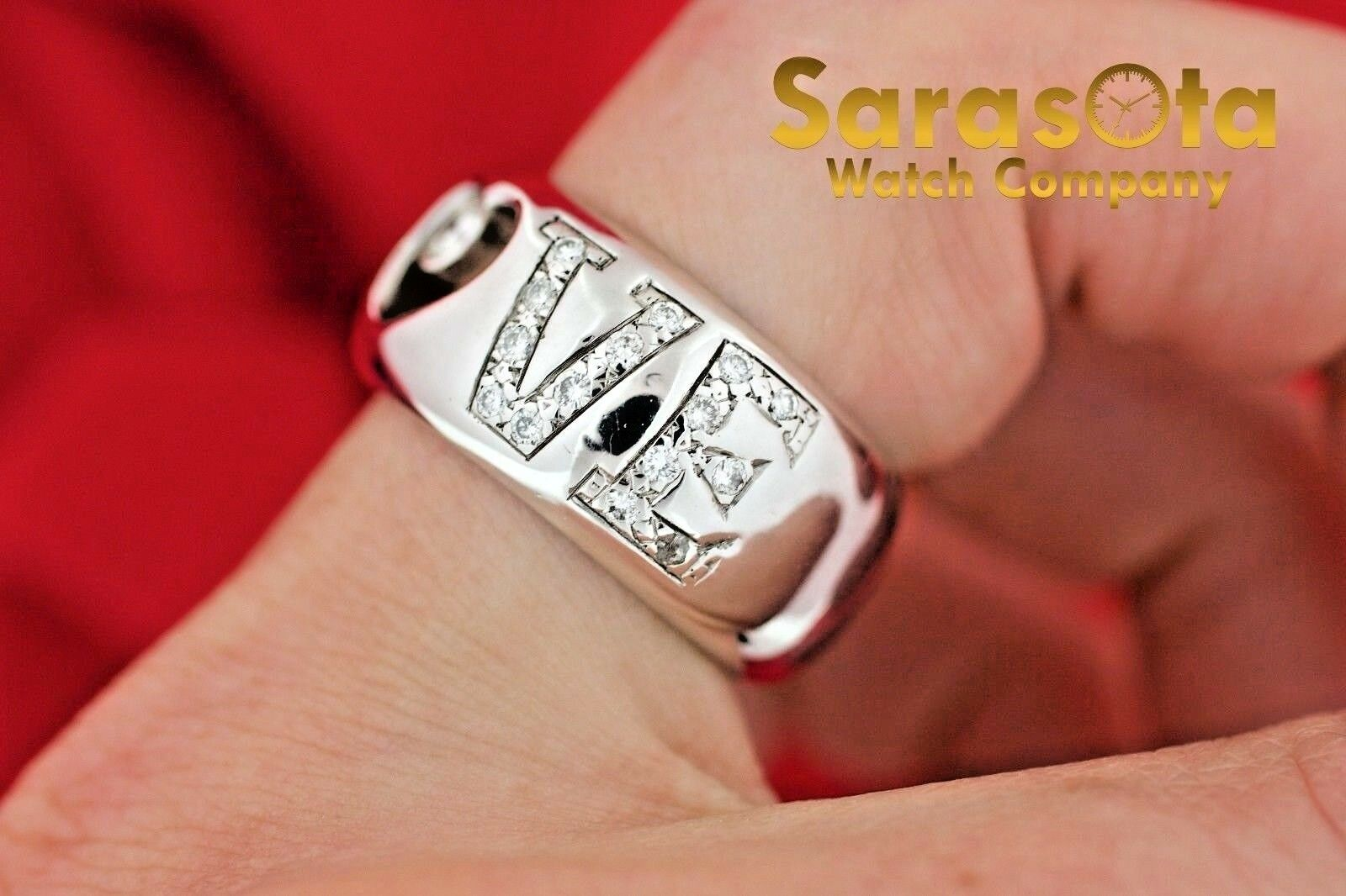 14K White Gold 030Ct HSI1 Diamond LOVE 11mm Wide Band Womens Ring Size 8 122030768416 9