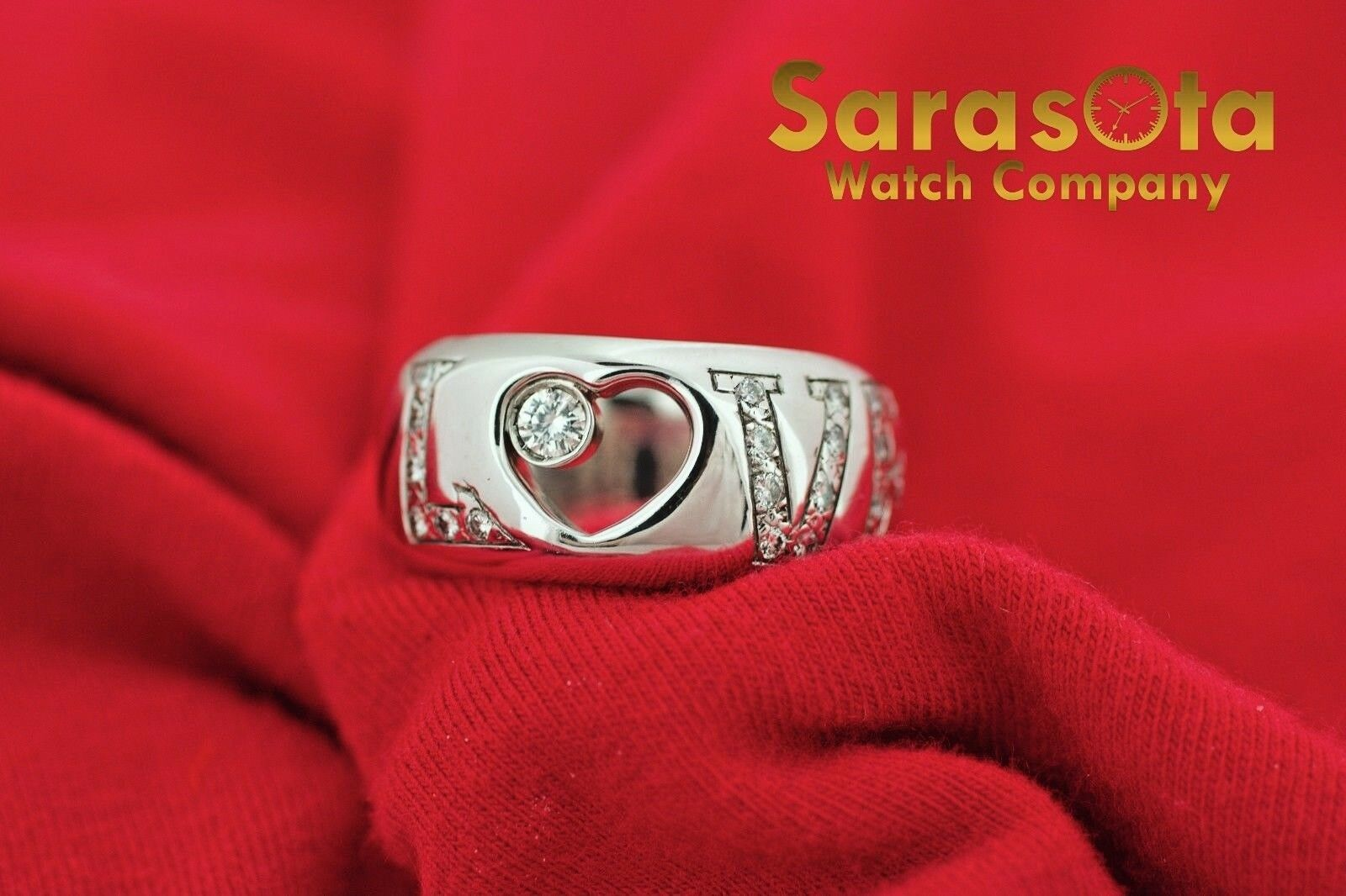 14K White Gold 030Ct HSI1 Diamond LOVE 11mm Wide Band Womens Ring Size 8 122030768416