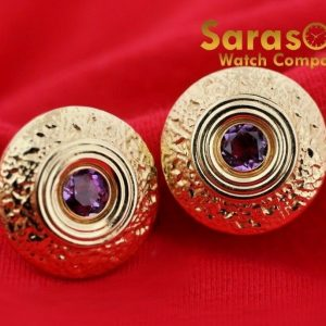 14K Yellow Gold Round Disc 20mm Amethyst Studs Push Back Post Womens Earrings 113004457936