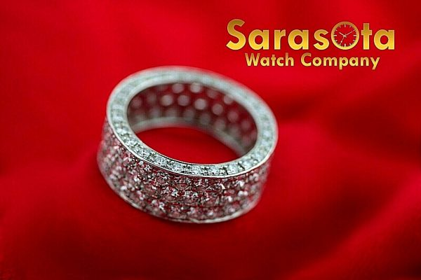 14k White Gold Eternity 550ct Diamonds 8mm Wide Womens Ring Size 525 113621549846 4