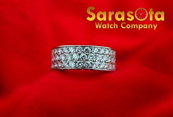14k White Gold Eternity 550ct Diamonds 8mm Wide Womens Ring Size 525 113621549846