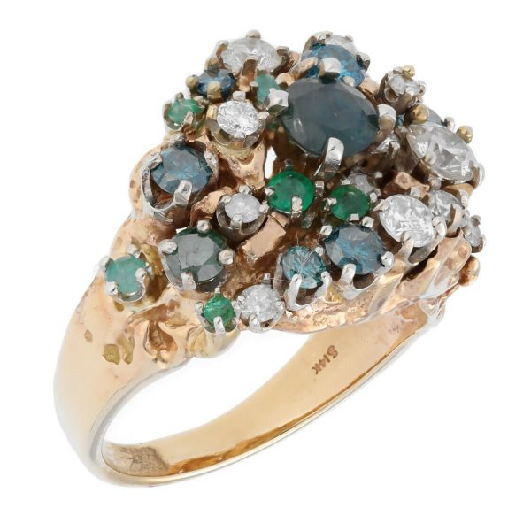 14k Yellow Gold Diamonds Multi Color Gem Cluster Mens Ring Jewelry Size 1125 113682847836 2